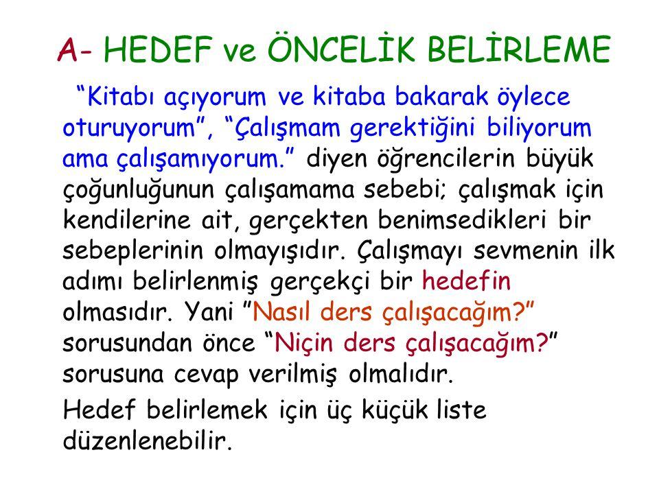 A- HEDEF ve ÖNCELİK BELİRLEME