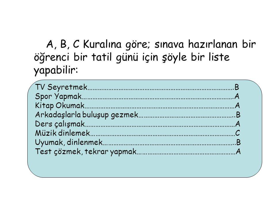 A, B, C Kuralına göre; sınava hazırlanan bir öğrenci bir tatil günü için şöyle bir liste yapabilir: