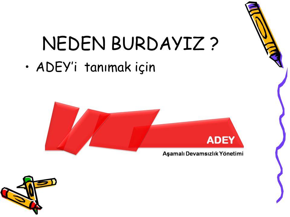 NEDEN BURDAYIZ ADEY'i tanımak için