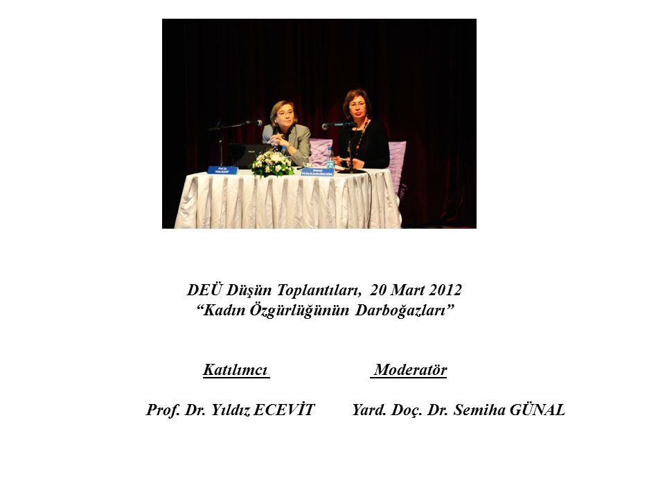 DEÜ Düşün Toplantıları, 20 Mart 2012 Kadın Özgürlüğünün Darboğazları Katılımcı Moderatör Prof.