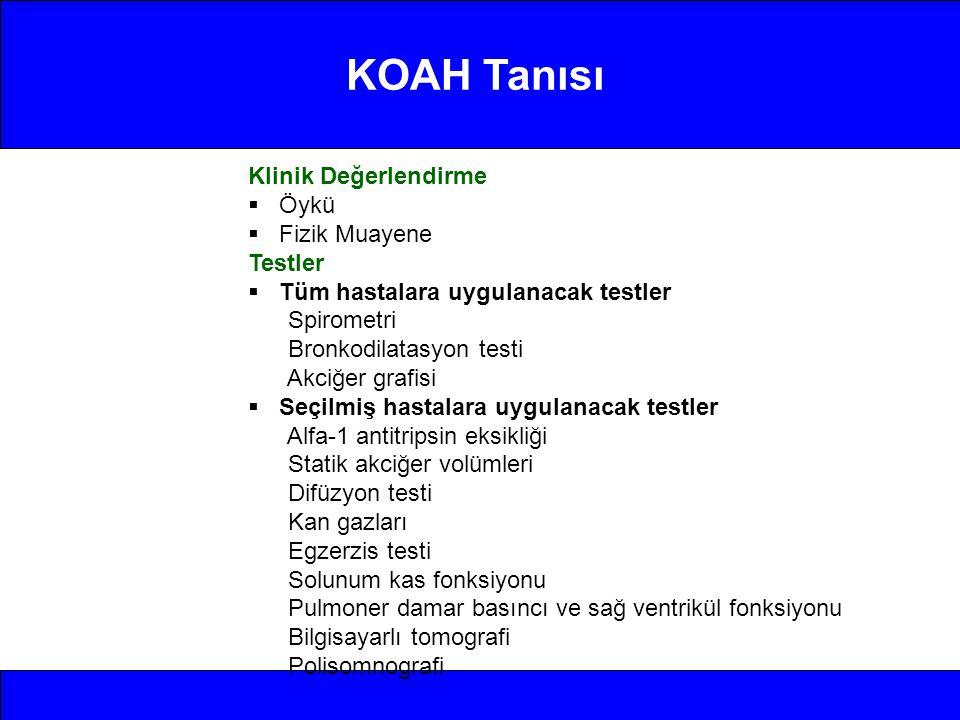 KOAH Tanısı Klinik Değerlendirme Öykü Fizik Muayene Testler