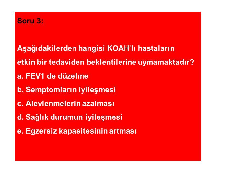 Soru 3: Aşağıdakilerden hangisi KOAH'lı hastaların. etkin bir tedaviden beklentilerine uymamaktadır