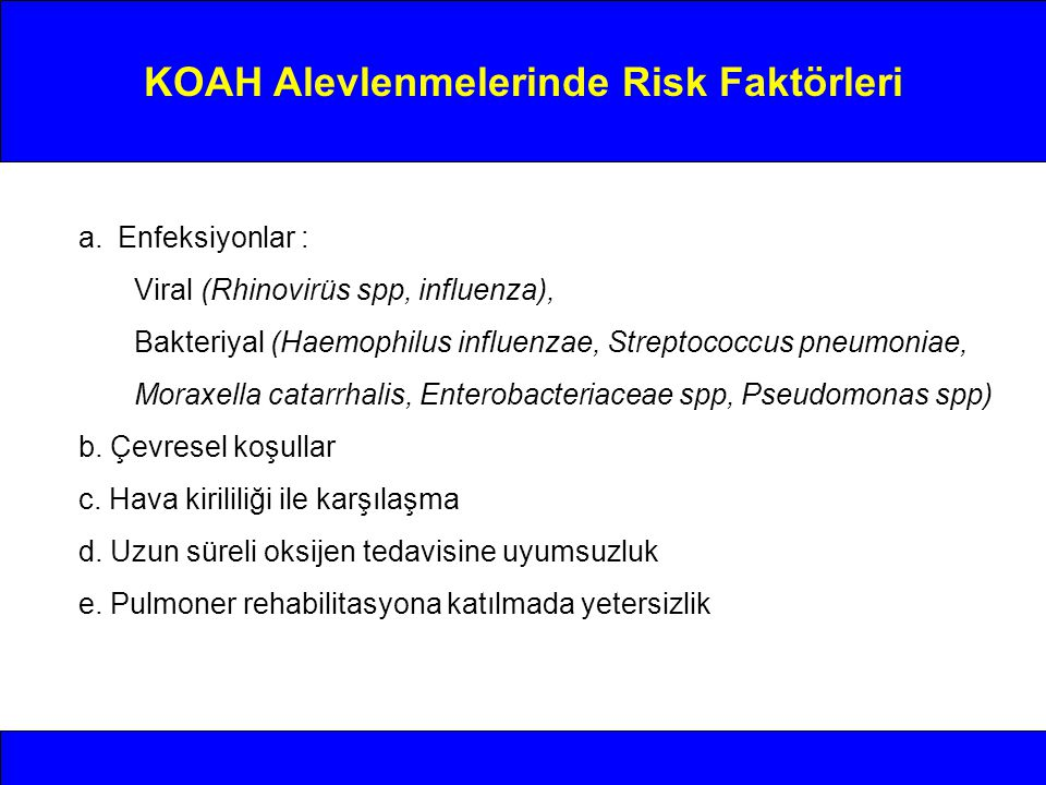 KOAH Alevlenmelerinde Risk Faktörleri