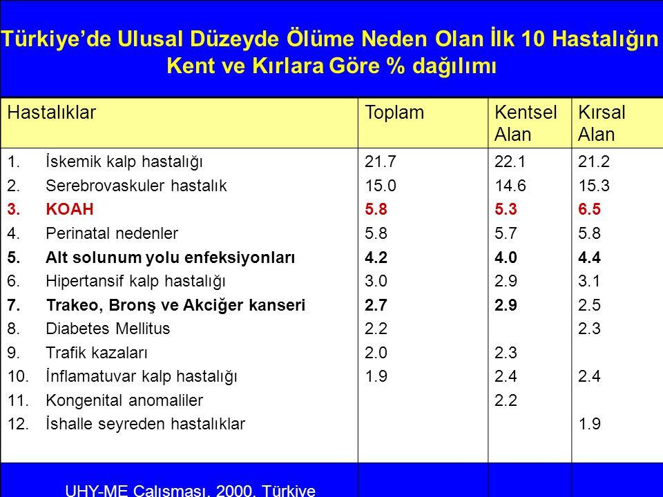 Türkiye'de Ulusal Düzeyde Ölüme Neden Olan İlk 10 Hastalığın