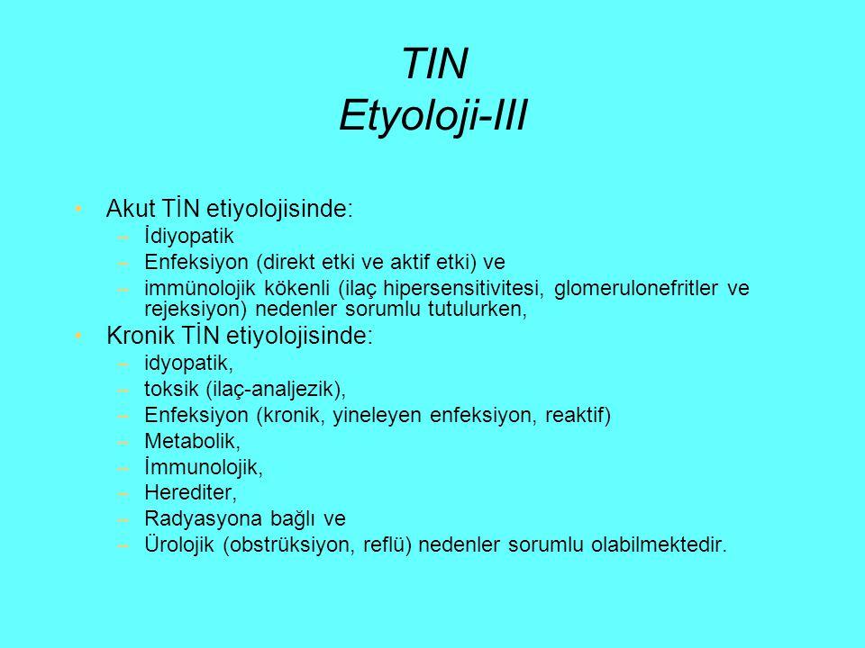 TIN Etyoloji-III Akut TİN etiyolojisinde: Kronik TİN etiyolojisinde: