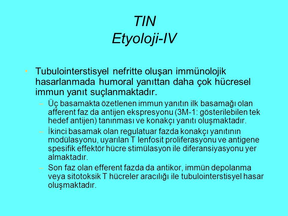 TIN Etyoloji-IV Tubulointerstisyel nefritte oluşan immünolojik hasarlanmada humoral yanıttan daha çok hücresel immun yanıt suçlanmaktadır.