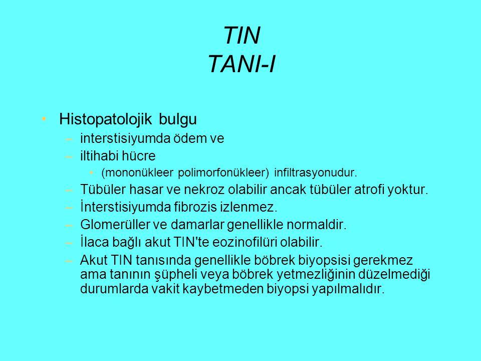 TIN TANI-I Histopatolojik bulgu interstisiyumda ödem ve iltihabi hücre