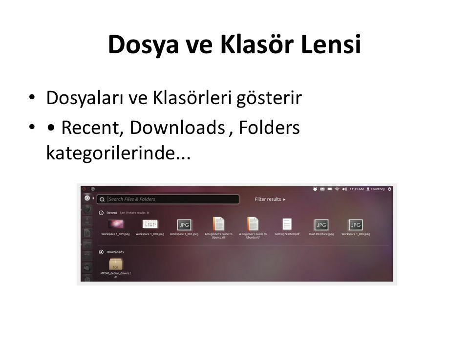 Dosya ve Klasör Lensi Dosyaları ve Klasörleri gösterir