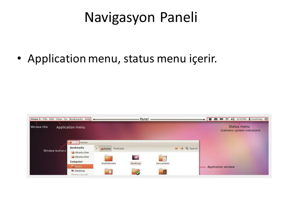 Navigasyon Paneli Application menu, status menu içerir.