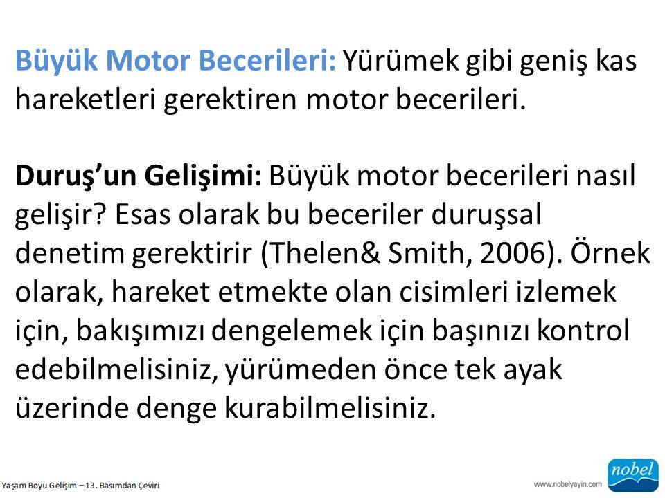 Büyük Motor Becerileri: Yürümek gibi geniş kas hareketleri gerektiren motor becerileri.