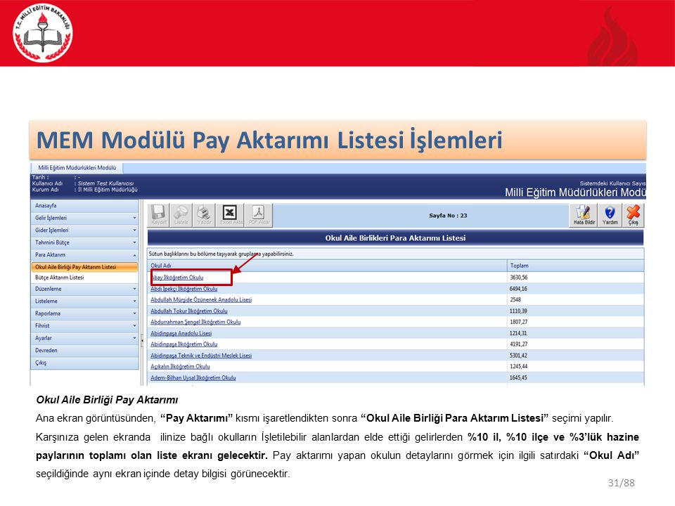 MEM Modülü Pay Aktarımı Listesi İşlemleri