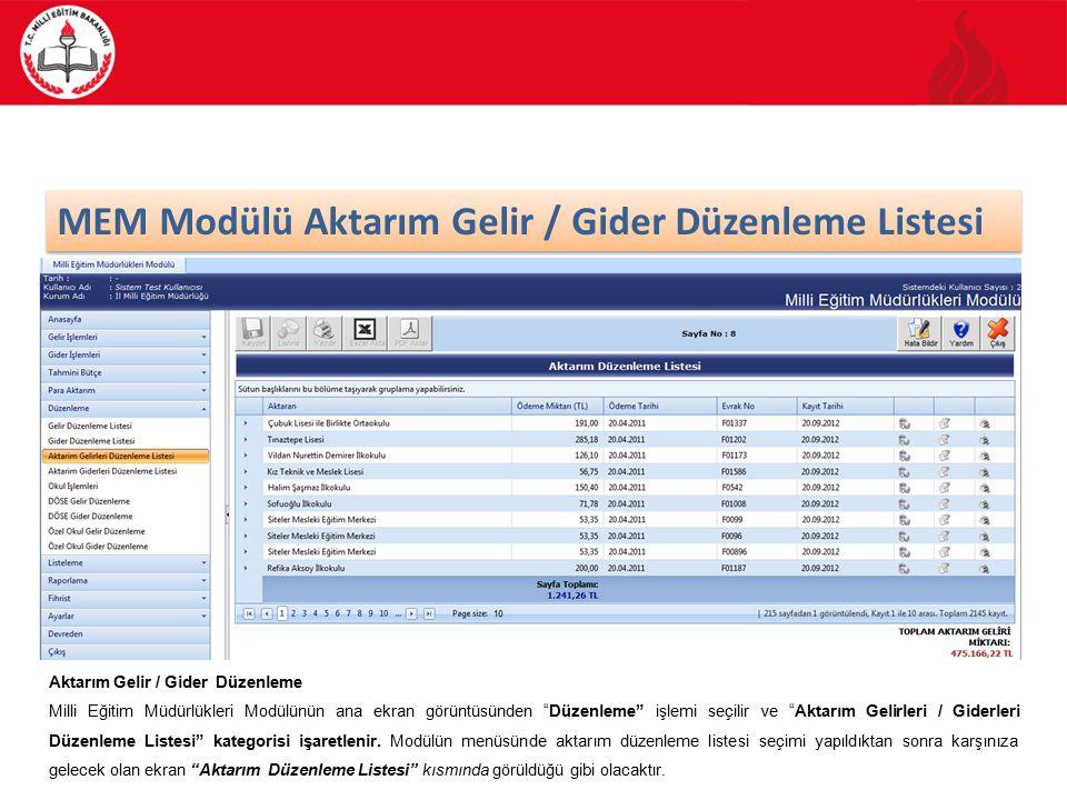 MEM Modülü Aktarım Gelir / Gider Düzenleme Listesi