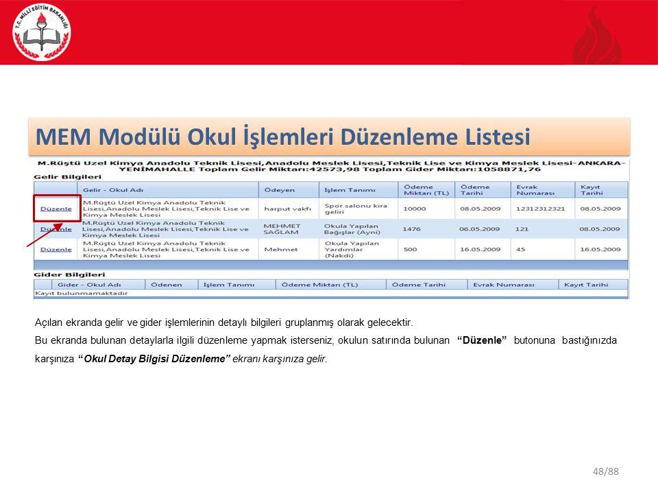 MEM Modülü Okul İşlemleri Düzenleme Listesi