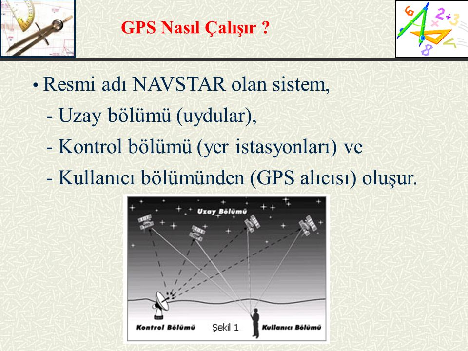 - Uzay bölümü (uydular), - Kontrol bölümü (yer istasyonları) ve