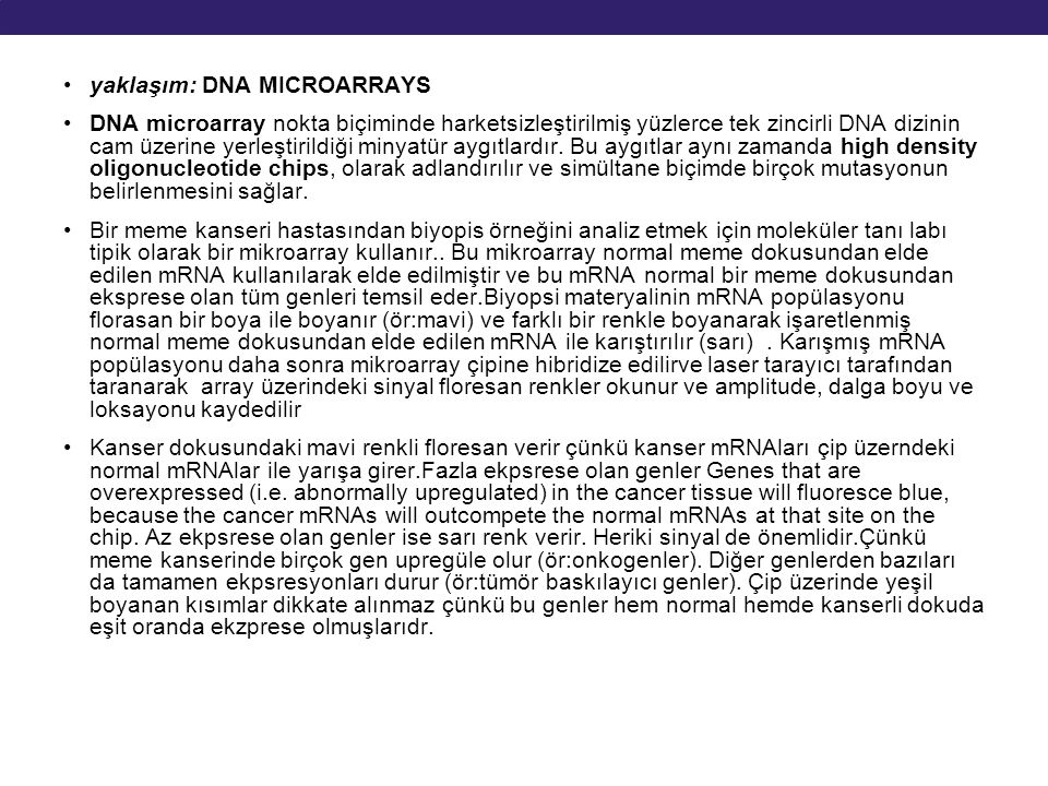 yaklaşım: DNA MICROARRAYS