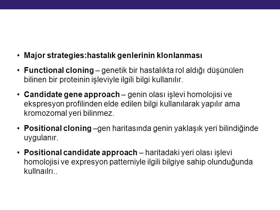 Major strategies:hastalık genlerinin klonlanması