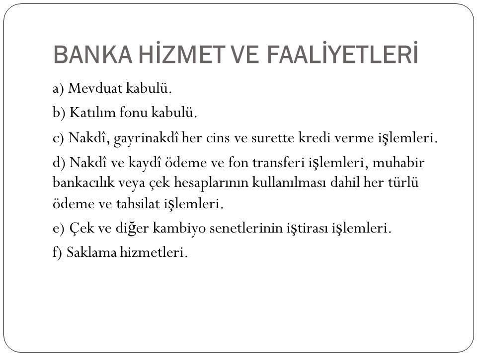 BANKA HİZMET VE FAALİYETLERİ
