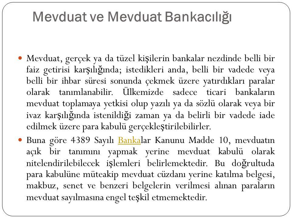 Mevduat ve Mevduat Bankacılığı