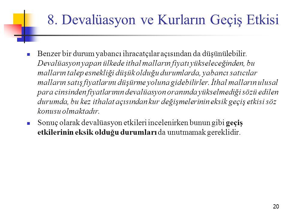 8. Devalüasyon ve Kurların Geçiş Etkisi