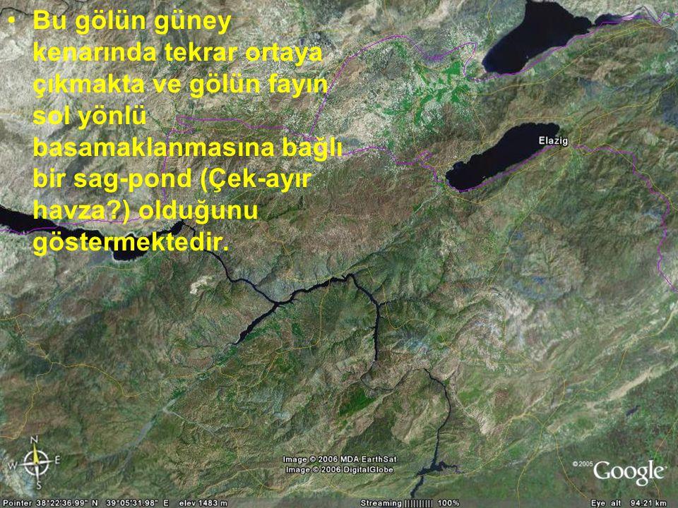 Bu gölün güney kenarında tekrar ortaya çıkmakta ve gölün fayın sol yönlü basamaklanmasına bağlı bir sag-pond (Çek-ayır havza ) olduğunu göstermektedir.