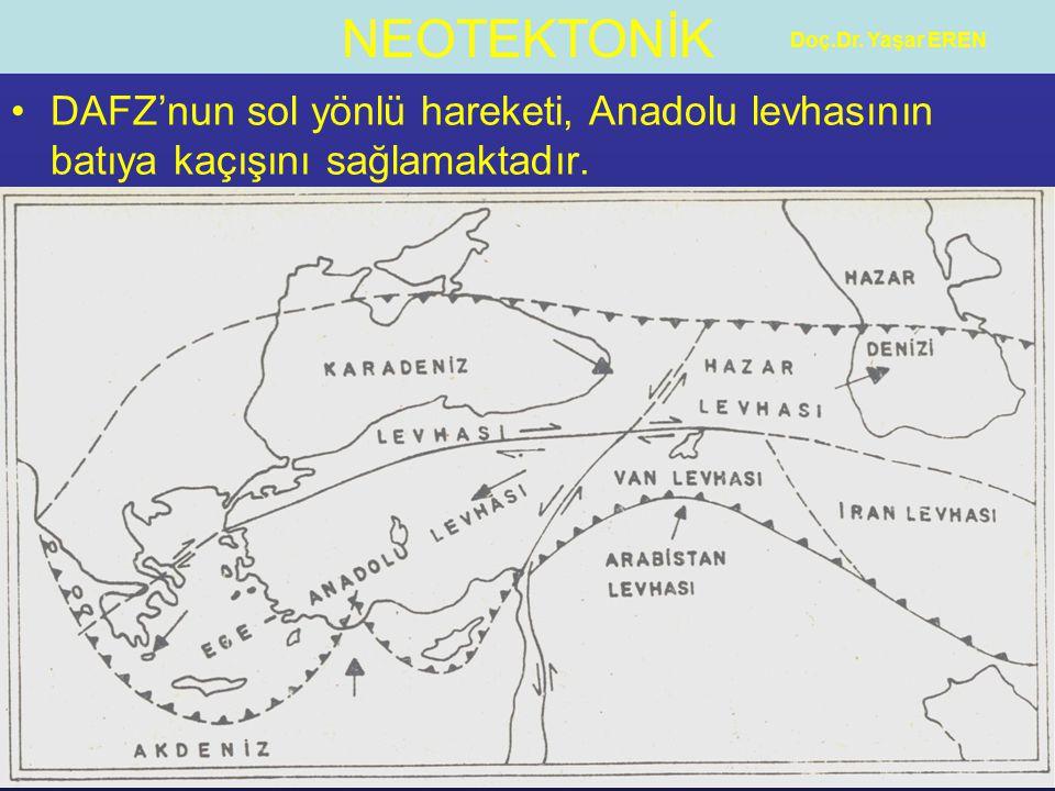 Doç.Dr. Yaşar EREN DAFZ'nun sol yönlü hareketi, Anadolu levhasının batıya kaçışını sağlamaktadır.