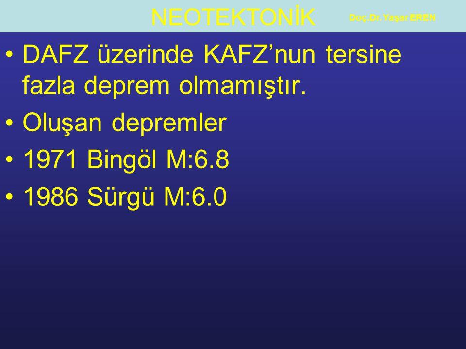 DAFZ üzerinde KAFZ'nun tersine fazla deprem olmamıştır.