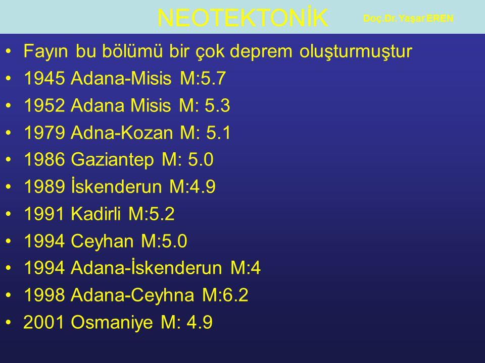 Fayın bu bölümü bir çok deprem oluşturmuştur 1945 Adana-Misis M:5.7