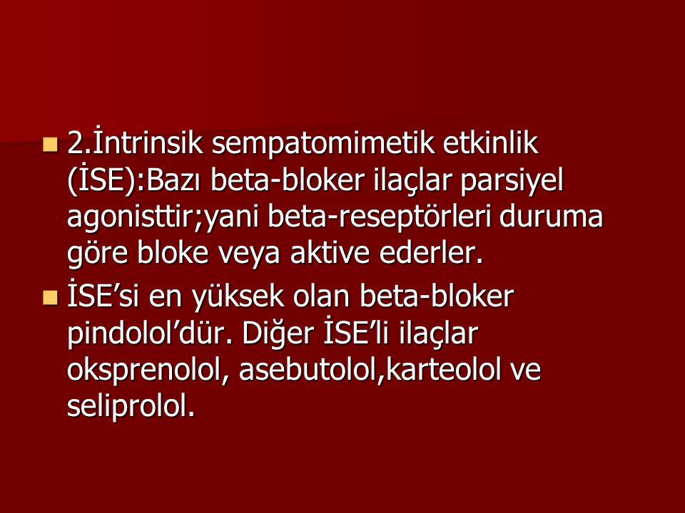 2.İntrinsik sempatomimetik etkinlik (İSE):Bazı beta-bloker ilaçlar parsiyel agonisttir;yani beta-reseptörleri duruma göre bloke veya aktive ederler.