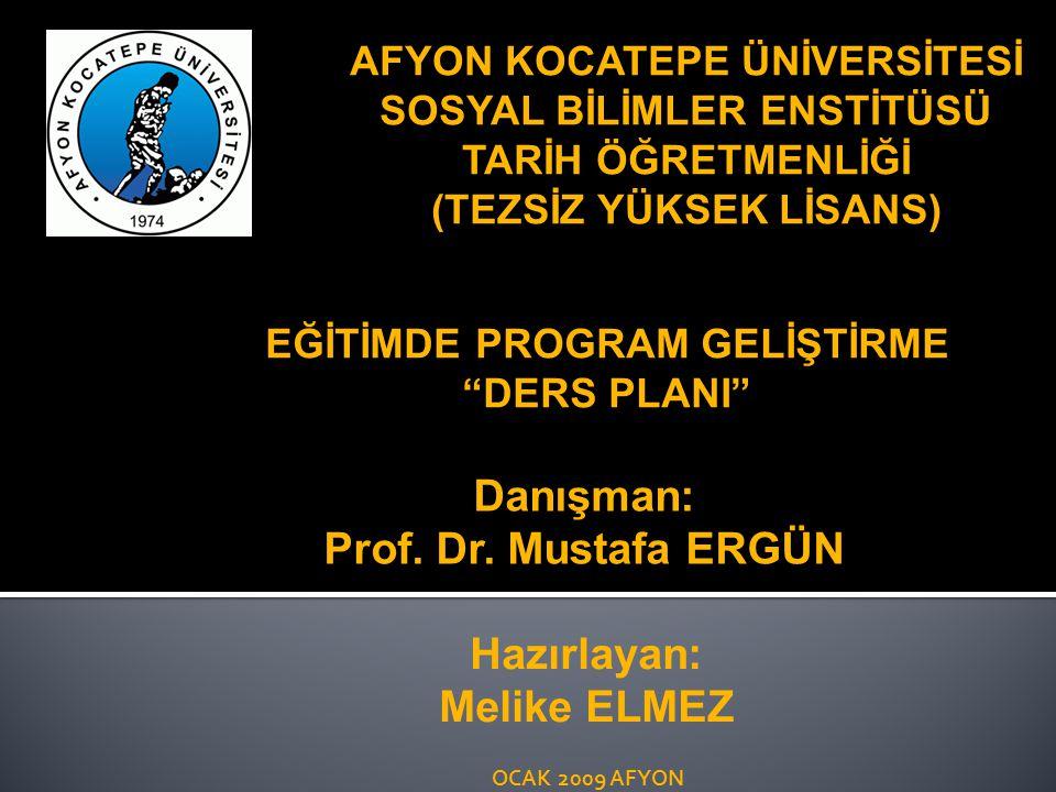 Danışman: Prof. Dr. Mustafa ERGÜN Hazırlayan: Melike ELMEZ