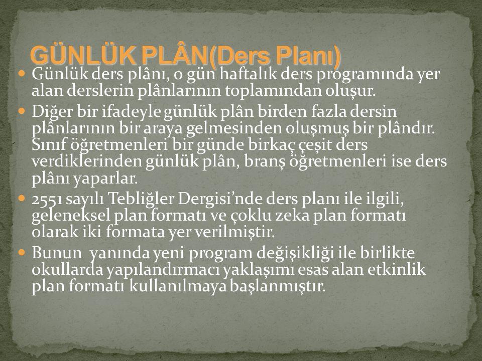 GÜNLÜK PLÂN(Ders Planı)