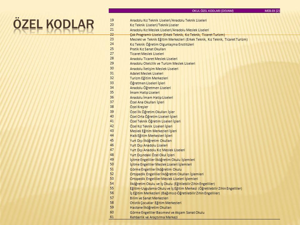 ÖZEL KODLAR Anadolu Kız Teknik Liseleri/Anadolu Teknik Liseleri 19
