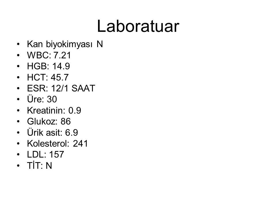 Laboratuar Kan biyokimyası N WBC: 7.21 HGB: 14.9 HCT: 45.7