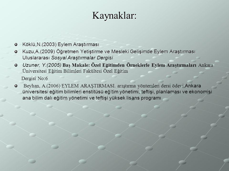 Kaynaklar: Köklü,N.(2003) Eylem Araştırması