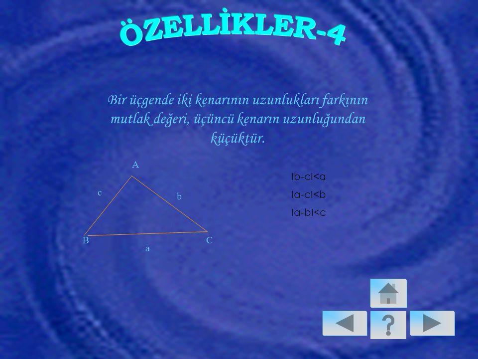 ÖZELLİKLER-4 Bir üçgende iki kenarının uzunlukları farkının mutlak değeri, üçüncü kenarın uzunluğundan küçüktür.