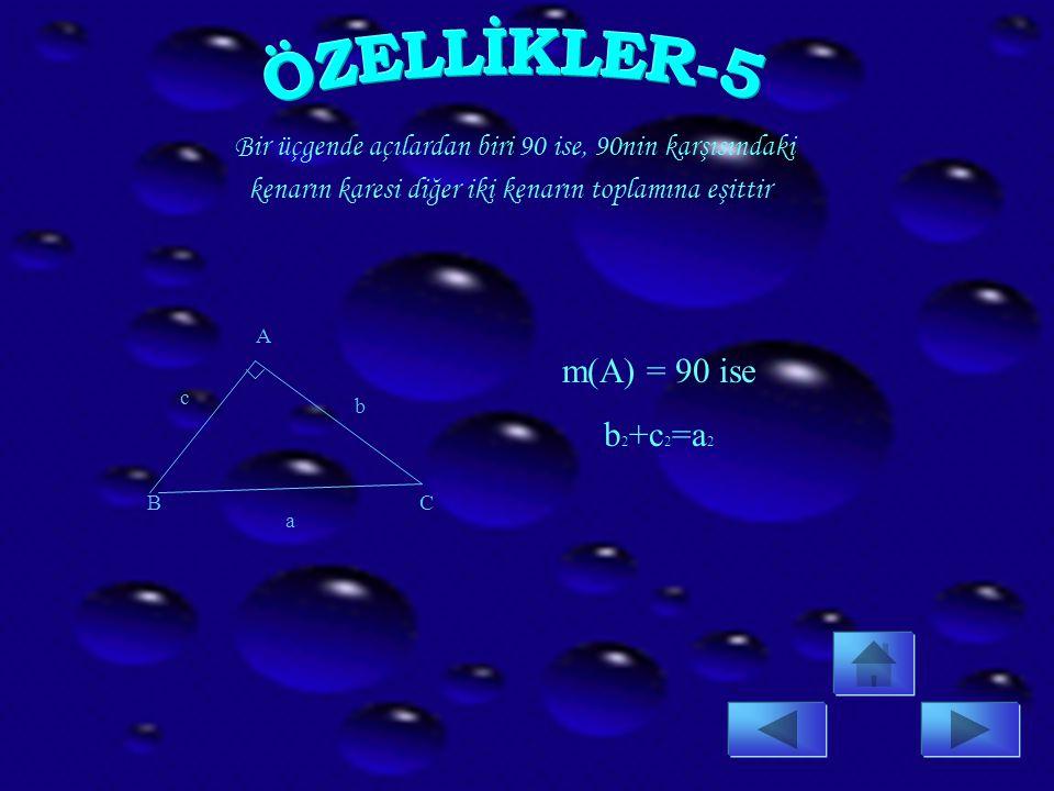 ÖZELLİKLER-5 m(A) = 90 ise b2+c2=a2