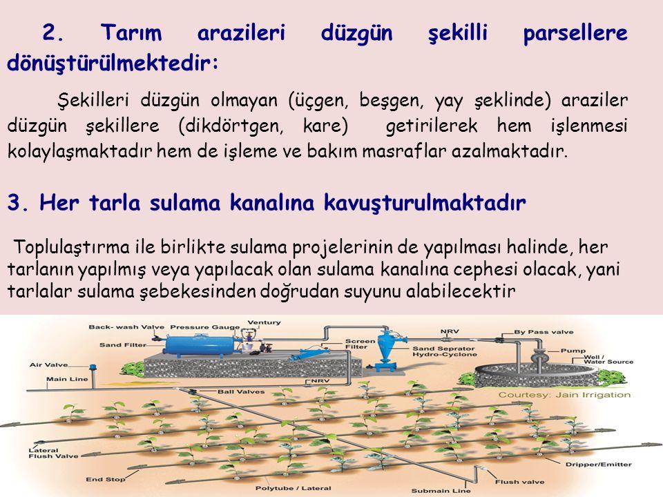 2. Tarım arazileri düzgün şekilli parsellere dönüştürülmektedir: