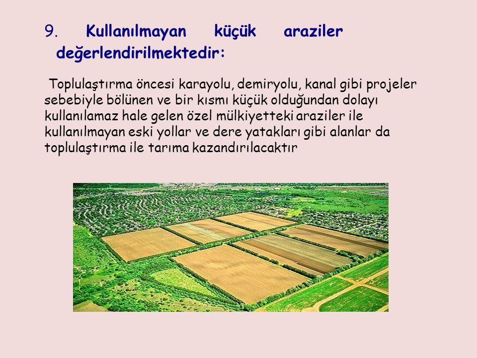 9. Kullanılmayan küçük araziler değerlendirilmektedir: