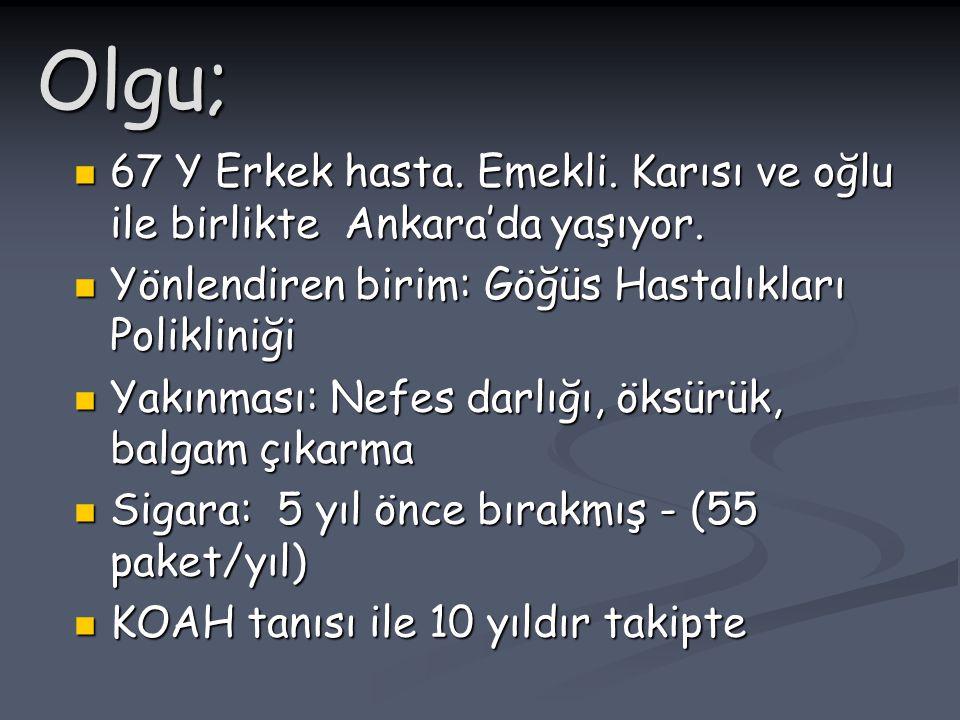 Olgu; 67 Y Erkek hasta. Emekli. Karısı ve oğlu ile birlikte Ankara'da yaşıyor. Yönlendiren birim: Göğüs Hastalıkları Polikliniği.