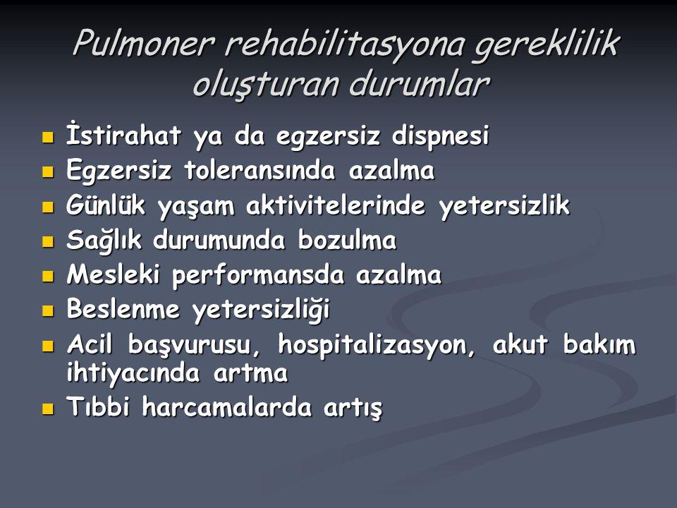 Pulmoner rehabilitasyona gereklilik oluşturan durumlar