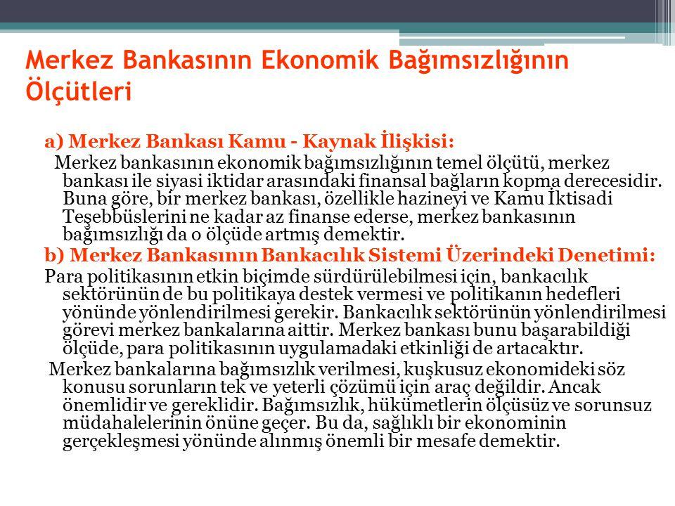 Merkez Bankasının Ekonomik Bağımsızlığının Ölçütleri