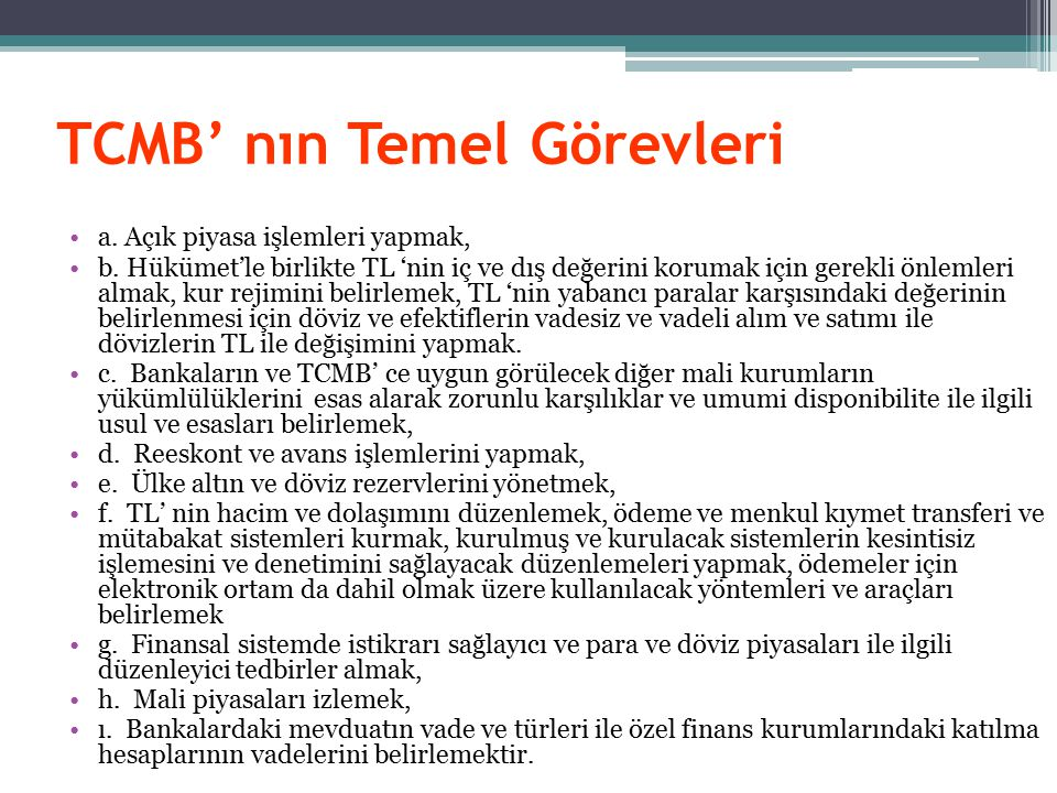 TCMB' nın Temel Görevleri