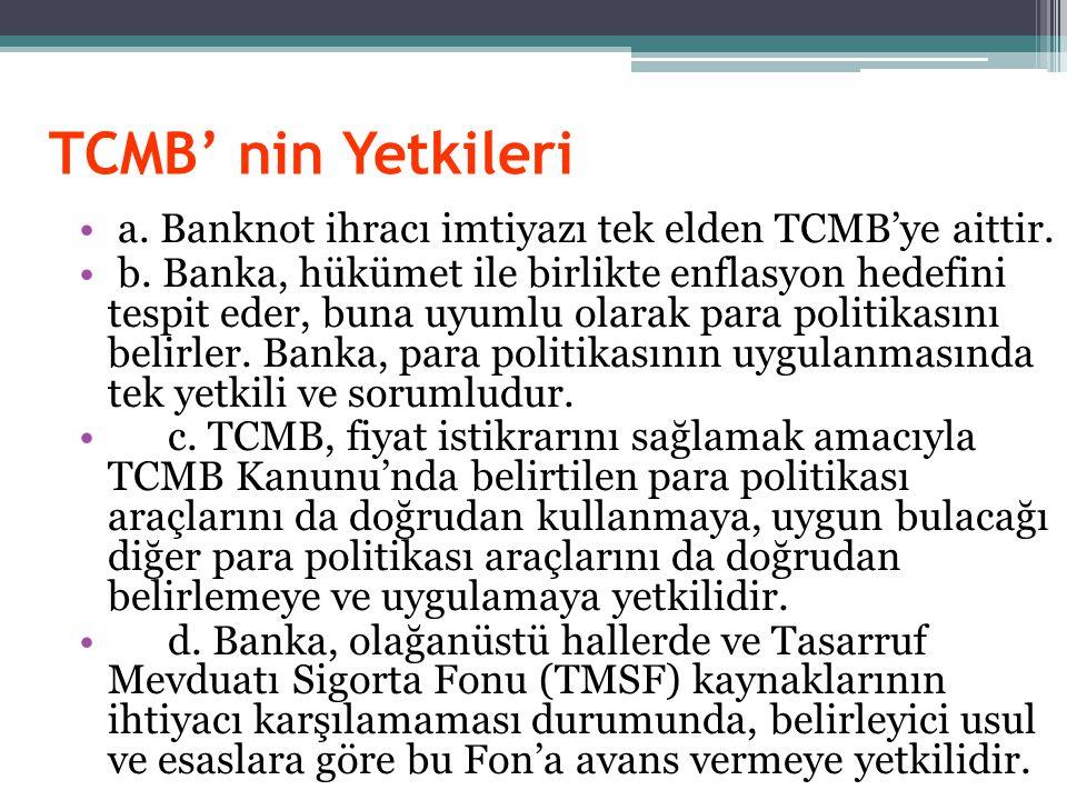 TCMB' nin Yetkileri a. Banknot ihracı imtiyazı tek elden TCMB'ye aittir.