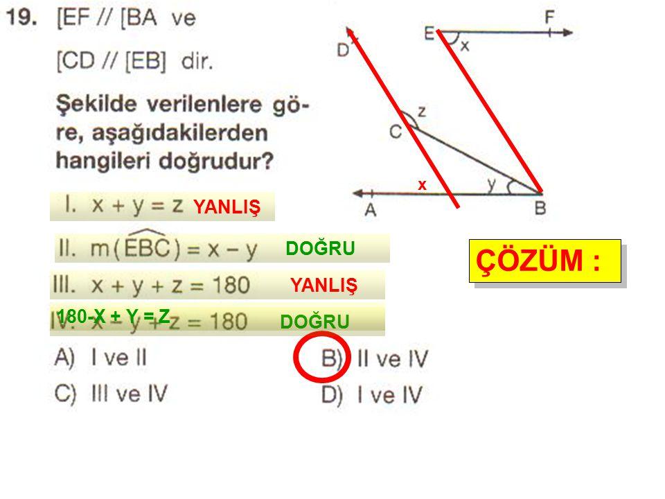 x YANLIŞ DOĞRU ÇÖZÜM : YANLIŞ 180-X + Y = Z DOĞRU