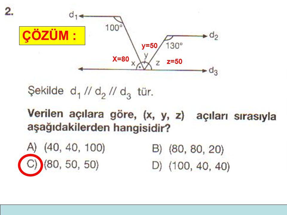 ÇÖZÜM : y=50 X=80 z=50