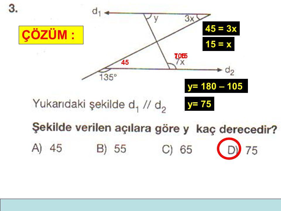 45 = 3x ÇÖZÜM : 15 = x 7.15 105 45 y= 180 – 105 y= 75