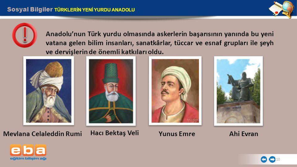 Mevlana Celaleddin Rumi Hacı Bektaş Veli Yunus Emre Ahi Evran
