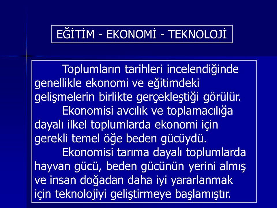 EĞİTİM - EKONOMİ - TEKNOLOJİ