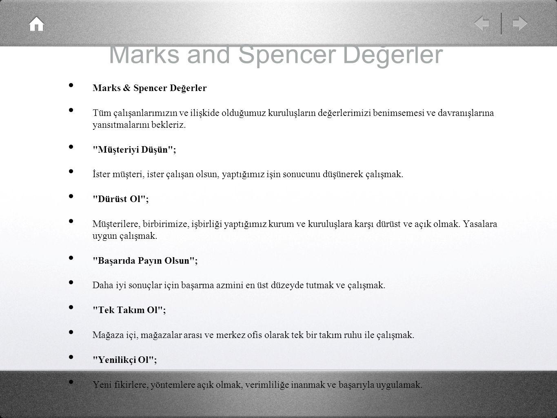 Marks and Spencer Değerler
