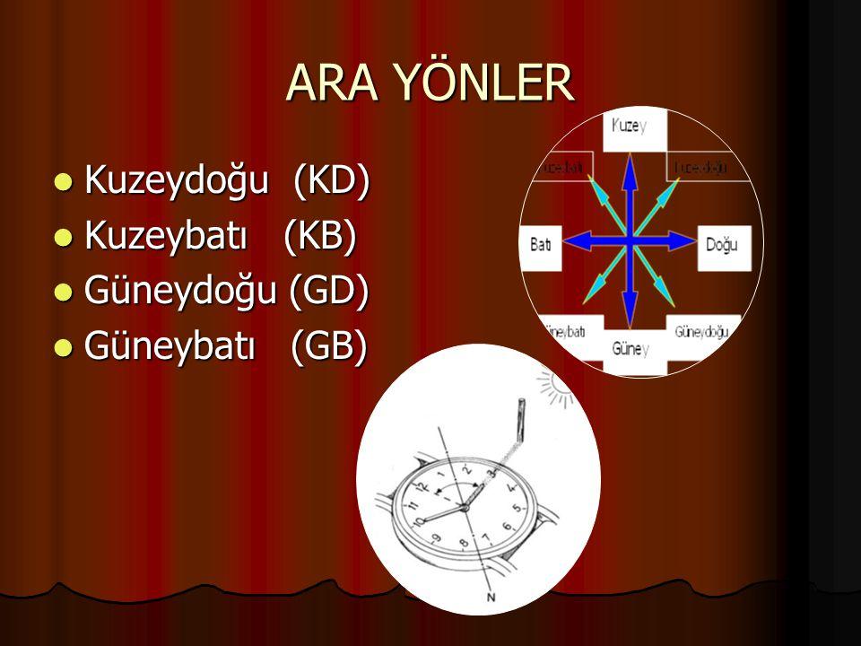 ARA YÖNLER Kuzeydoğu (KD) Kuzeybatı (KB) Güneydoğu (GD) Güneybatı (GB)