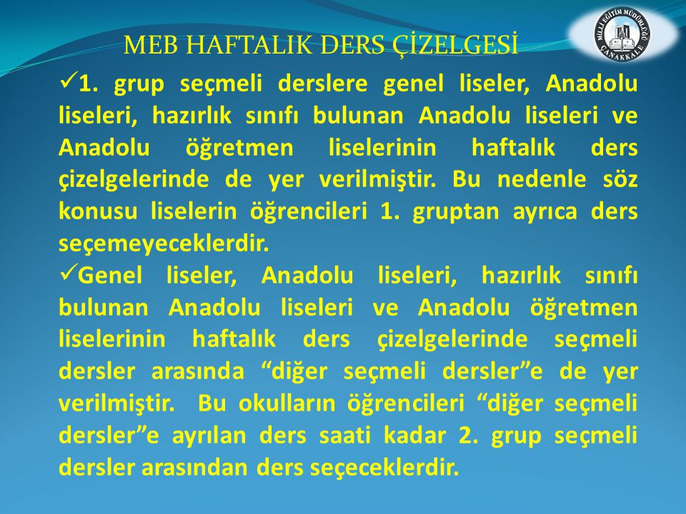 MEB HAFTALIK DERS ÇİZELGESİ
